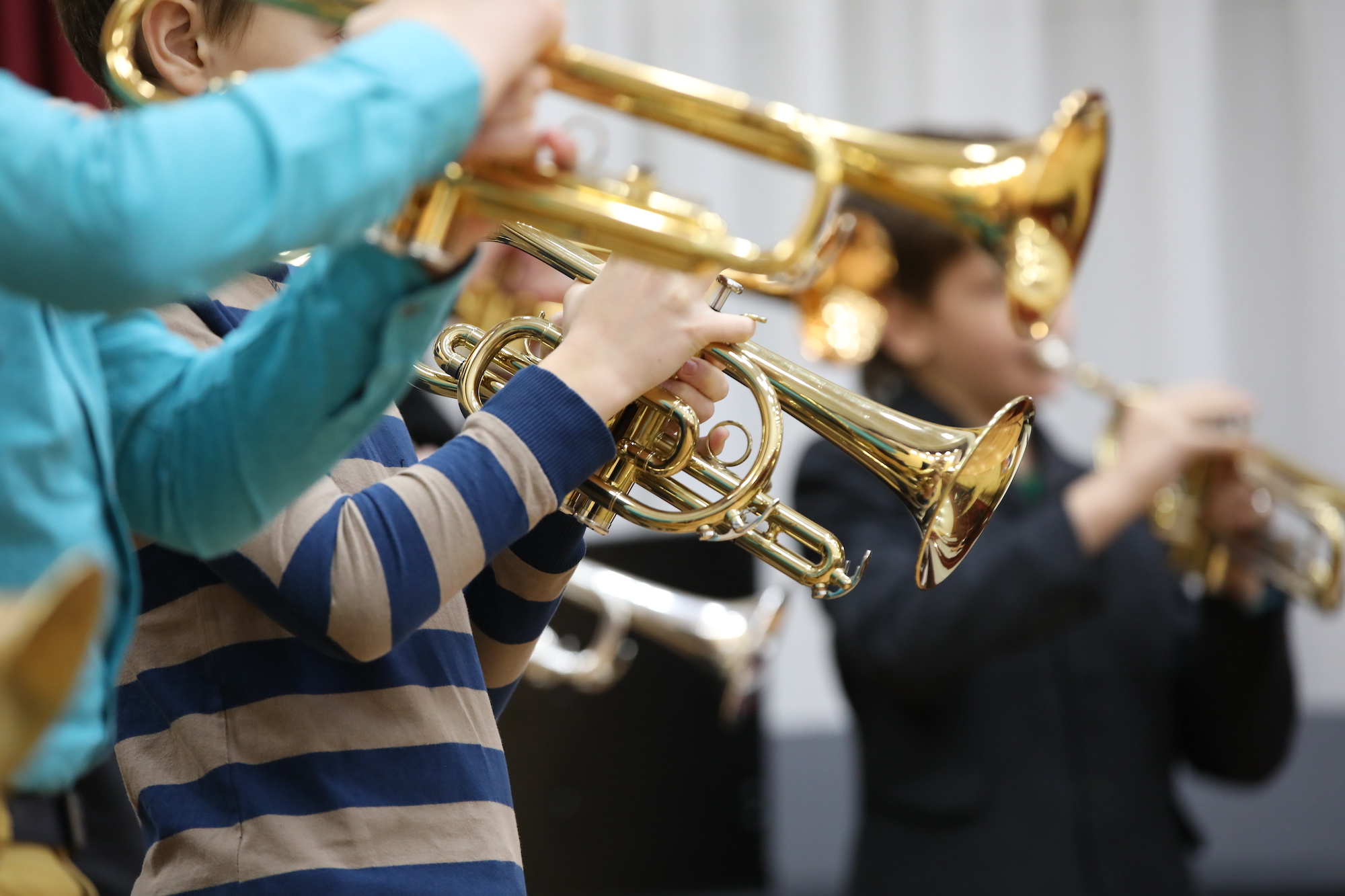Students playing trumpet.